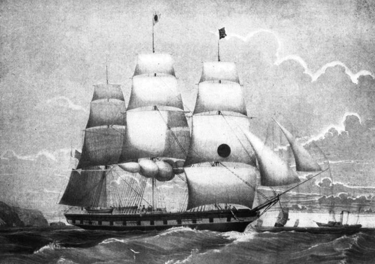 18th Century Packet ship image from Wikimedia Commons Montezumapacketship