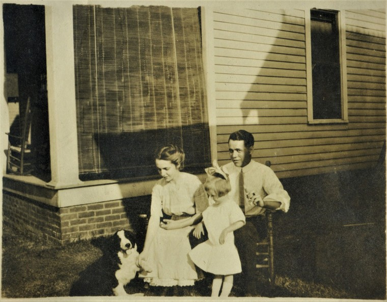L to R - unidentified family spaniel, Lulu,Dorothy (aka Aunt Corky), and Frank Sands W. and c. 1915 -B