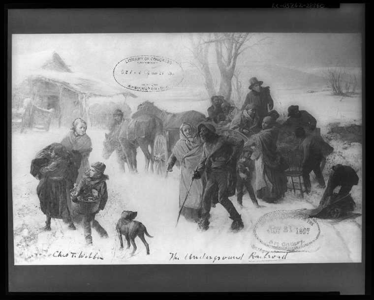 The underground railroad by Chas. T. Webber - slaves arriving at Levi Coffin farm