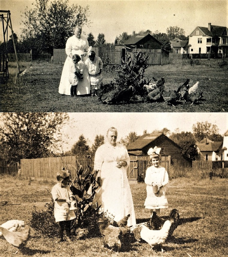 Warren and Dorothy Williss with their Grandma Sarah App alt and chickens