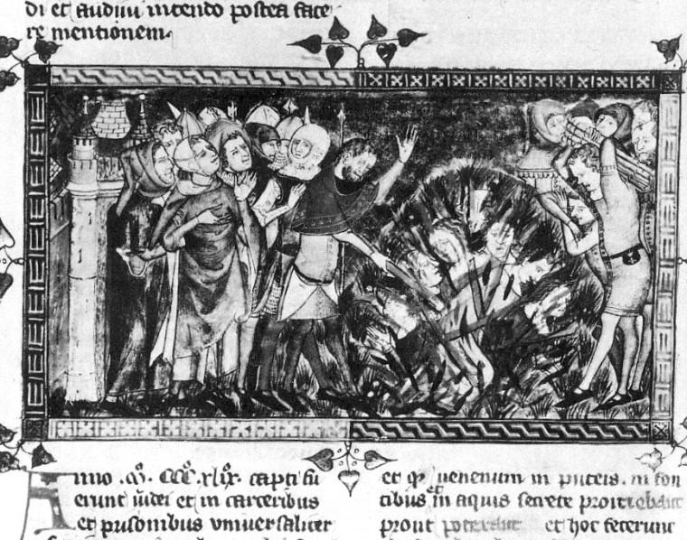 1349_burning_of_Jews-European_chronicle_on_the Black_Death of 1349. Brussels, Bibliothèque royale de Belgique