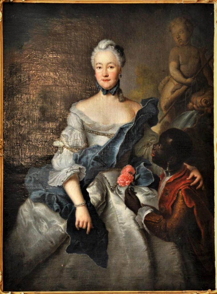 Landgräfin Henriette Karoline von Hessen-Darmstadt mit ihrem Mohren, um 1750 (Schlossmuseum Darmstadt)