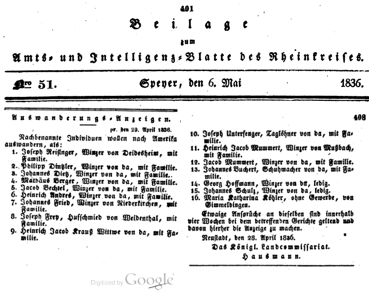 Mathaus Berger-1 - emigration notice in news publication