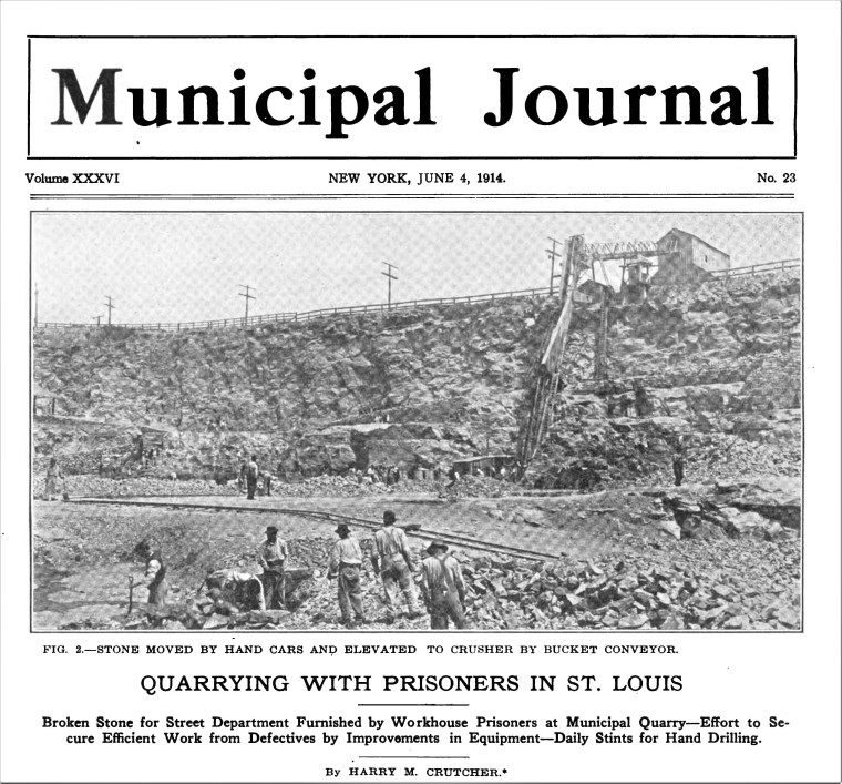 Photo from Quarrying With the Prisoners in St. Louis Pages from Municipal_Journal_Public_Works_ 1914 - Google Books