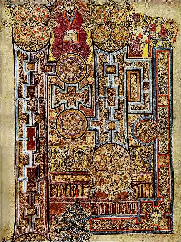 The Book of Kells, (folio 292r), circa 800, showing the lavishly decorated text that opens the Gospel of John