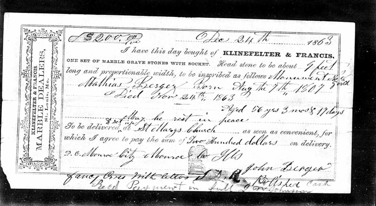 Tombstone invoice listing Aug 07, 1807 as birth date