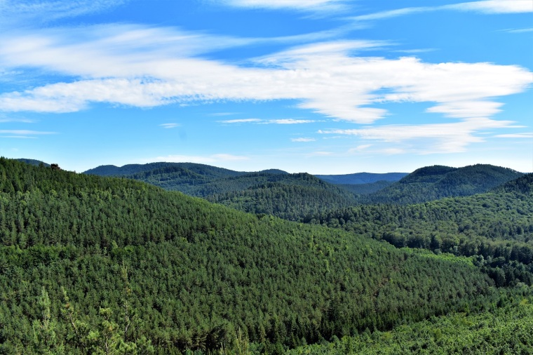 View of mountains behind Obersteinbach, from atop an outcropping___
